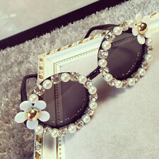 Black Color New Design Handmand Rhinestone Flower Pearl Sunglass for Women