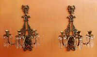 Pair of Antique Griffin Bird & Bows Bronze- Brass French Sconces wall Candles