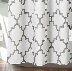 Bellagio Fabric Shower Curtain Gray and White 72X72