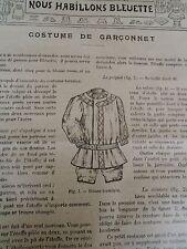 """PATRON ORIGINAL POUR LA POUPEE BLEUETTE """"COSTUME DE GARCONNET MAI 1910"""