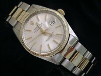 Rolex Datejust Mens 2Tone Stainless Steel & 14K Yellow Gold Oyster Silver 16013
