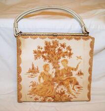 "Vintage 60's Tan Ivory Medieval Tapestry Box Handbag Purse 12"" W x 11"" H"