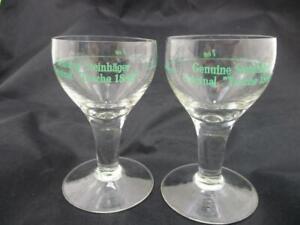 2 Vintage Liquor Glasses~Steinhager Tasche~Gin Schnaps