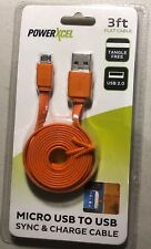 PowerXcel Micro USB to USB Sync & Charge Cable ORANGE 3 Ft.