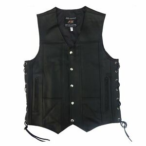 ARD® Men's Black Genuine Leather 10 pockets Motorcycle Biker Vest S To 12XL