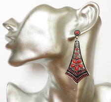 Beautiful Art Deco Style Red Bead Dangle Drop Earrings in Antiqued Silver Tone