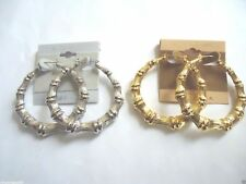 2X or 4X or 6X 14 KT.GOLD & SILVER PLATED BAMBOO HOOP EARRINGS MADE IN USA