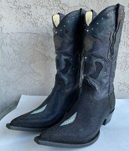 Men's Los Altos Genuine Single Stone Stingray Western Boots Pointed 3X Toe