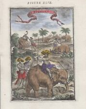 1683 Mallet Engraving of Elephants