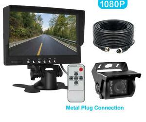 7'' 1080P HD Monitor AHD 4Pin IR Night Vision Rear View Camera For Truck Bus RV