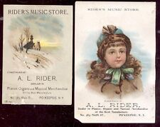 1880's POUGHKEEPSIE NY, 2 TRADE CARDS, A L RIDER MUSIC STORE, 383 MAIN ST. TC628