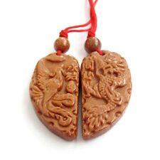 Pair Of Goldstone Gem Dragon Phoenix Word Amulet Pendant Happy Lucky Jewelry