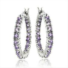 925 Silver 1.68ct Amethyst Hoop Earrings