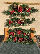 Vintage Red Rose & Pine Swag Set Of 4 Home Interiors Gifts