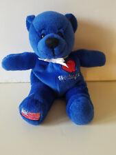 "Symbolz Washington Plush Royal Blue Teddy Bear Flag on Foot Bean Bag 8"" - 2001"