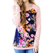 Fashion Women's Long Sleeve Blouse T-Shirt Loose Casual Crew Neck Floral Tops