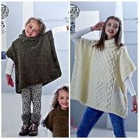 KNITTING PATTERN Girls Easy Knit Tabbard & Cowl & Ladies Cable Poncho Aran 4841