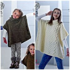 KNITTING PATTERN Girls Easy Knit Tabbard & Cowl & Ladies Cable Poncho Aran 4841