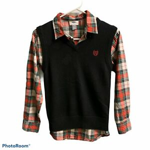 Chaps Sweater Vest Old Navy Plaid LS 10/12 Holiday Preppy