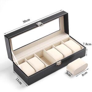 Leather Watch Jewelry Display Storage Holder Case 6 Grids Box Organizer Gift