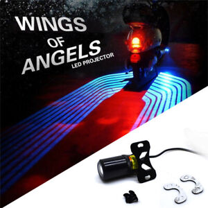 Set of 2 Angel Wings Blue LED Projector Light Motorcycle Shadow Welcome Lights