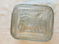 Vintage Clear Ribbed Glass Fruit Base Plate Square Butter Dish