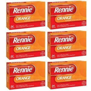 Rennie Orange Indigestion Heartburn Relief Antacid 24 Tablets 1,3 or 6 Packs