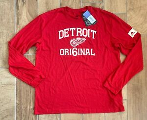 New Men's Adidas NHL Detroit Red Wings Long Sleeve Premium Shirt Red Sz 2XL