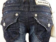 "$180 Rock Revival Womens Jean ""Heather"" Dark Denim Sequins Boot Cut 26 X 32"