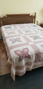 """Vitage Feedsack Butterfly Quilt Top Hand Stitched ; 96"""" x 72"""""""