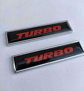 2 Turbo Noir Rouge Chrome Badges Emblèmes Pour Isuzu Trooper Rodeo Bighorn D-Max