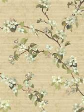 Wallpaper Pink Green Cream Apple Blossoms on Marbleized Beige Faux