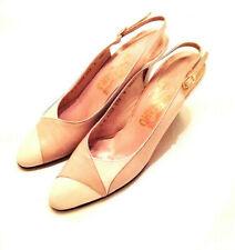 Women's - Salvatore Ferragamo - Tan Cream Leather Classic Slingback Pumps - 8