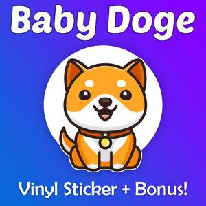 """BabyDoge Vinyl Sticker 2.5"""" + Optional Bonus (1,000,000,000 Baby Doge 1 Billion)"""