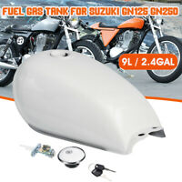 Motorcycle 9L/2.4 Gal Fuel Tank Gas Tank Cover For Suzuki GN125 GN250 Cafe