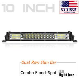 10in LED Light Bar Spot Flood Combo Dual Row Offroad Driving  Fog SUV UTV 4WD US