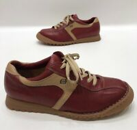 Born Tan/red Leather Womens Casual Lace Up Shoes Comfort Size 10 (42) GREAT!