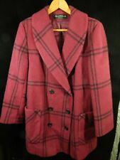 """Vintage(?) Women's Alorna Maroon Striped Button Down Coat; 100% Wool 33"""" Long"""