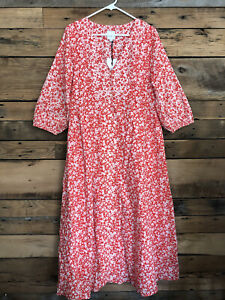 The Nines by HATCH Floral Print 3/4 Sleeve Button-Front Poplin Maternity Dress M