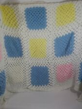 Crochet Afghan Granny Square Pink Yellow Blue White Baby Nursery Homemade Quilt