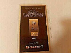 1/10 th Gram 24 Karat  Gold Bar with Free Shipping
