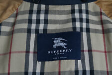 Genuine BURBERRY London Nova Check Mens Mac Coat Classic Navy Blue Size 50 R