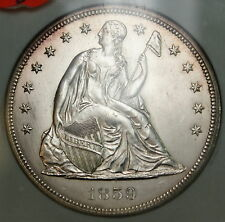 1859 Seated Liberty Silver $1 Dollar Coin NGC MS-62 Looks Very Choice BU UNC