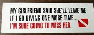 Scuba Diving Bumper Decal Sticker My Girlfriend DS33