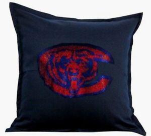 "Chicago Bears Cover Sofa Throw Pillow Case 18""X18"" Chair Couch Rhinestone"