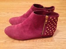 NEW TOPSHOP MILLICENT GOLD STUD BACK SUEDE LEATHER PURPLE ANKLE BOOTS SIZE 3 36