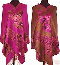New Rose Long Women Lady Double-Side Butterfly Pashmina Scarf Wrap Shawl Cape