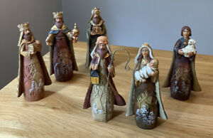 Vtg. Wesley Owen Holy Family Resin Nativity Set 6x 16.5cms Figures. Hand painted