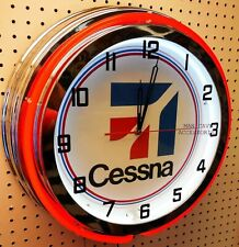 """19"""" Cessna Aircraft Sign Double Neon Clock Airplane Aviation Chrome Finish"""