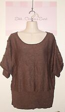 LANE BRYANT ~ Brown Copper Sparkly Knitted Rayon Blend SweaterTop Sz 16 * XLNT